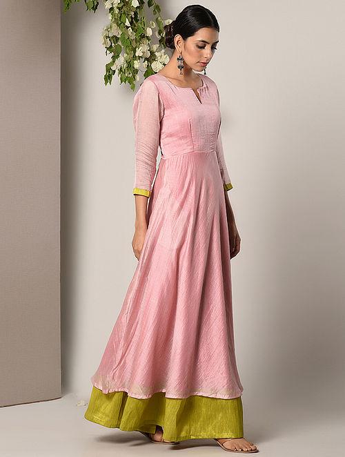 3581640ccf0 Buy Pink-Green Chanderi Cotton Maxi Dress Online at Jaypore.com