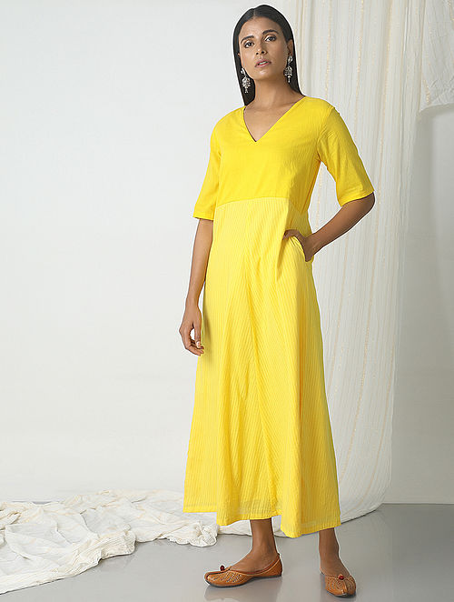 Yellow Striped Cotton Dress with Pocket