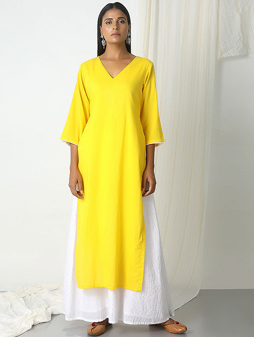 Yellow-White Chanderi-Cotton Dress with Attached Skirt