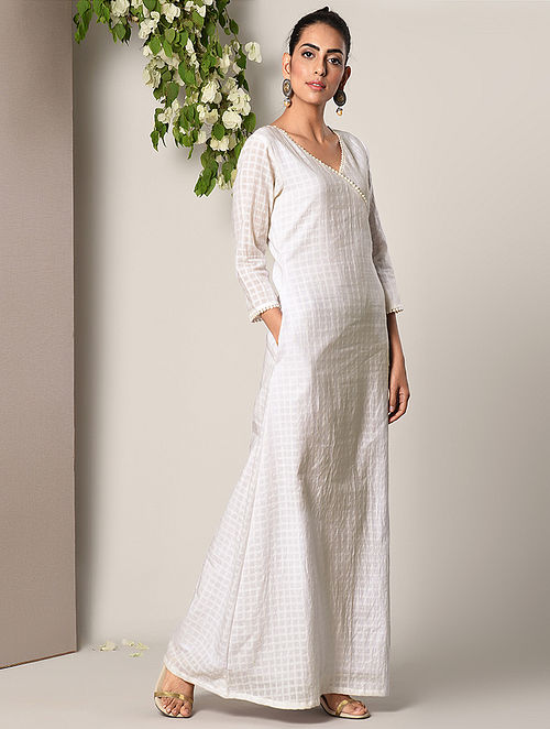 White Checkered Cotton Angrakha Dress with Lace