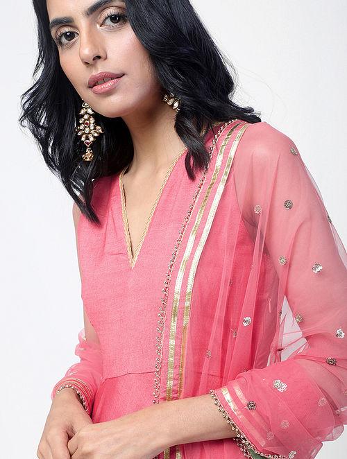 be1f8e3595e Buy Pink Cotton Silk Maxi Dress and Dupatta with Gota Work (Set of 2 ...