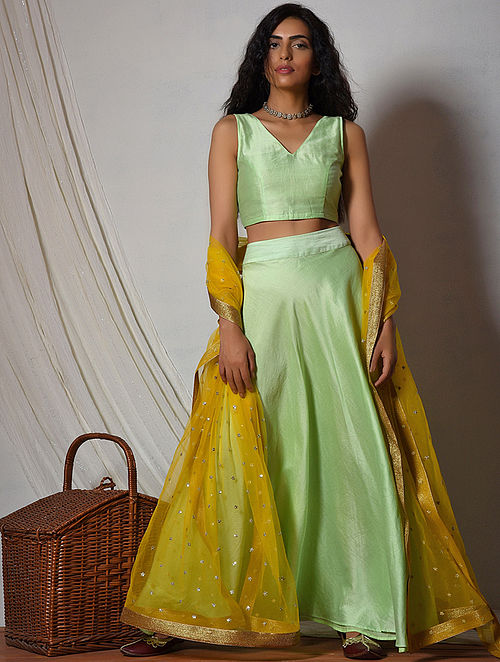 Green-Yellow Chanderi Lehenga-Choli-Dupatta (Set of 3)