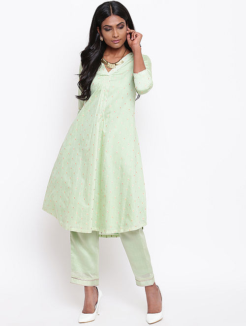 Green Embroidered Chanderi Kurta with Lining