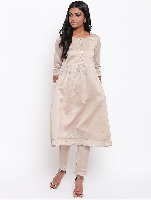 Grey Chanderi Kurta with Gota Details and Lining