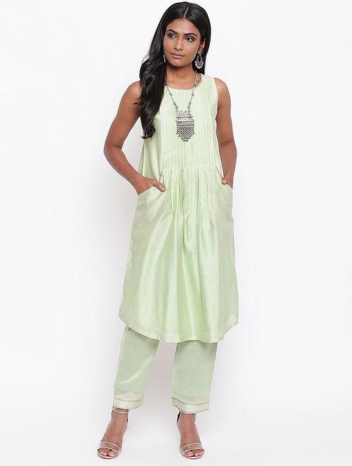 Green Chanderi Kurta with Gota Details and Lining
