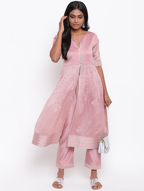 Pink Chanderi Kurta with Gota Details and Lining