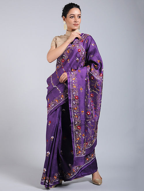 9862b982057d5 Purple-Red Hand-embroidered Tussar Silk Saree Embroidered Sarees