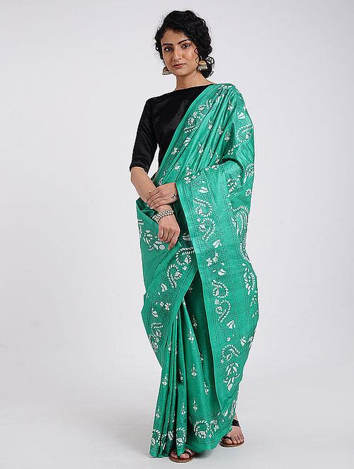 Green-Ivory Hand-embroidered Tussar Silk Saree