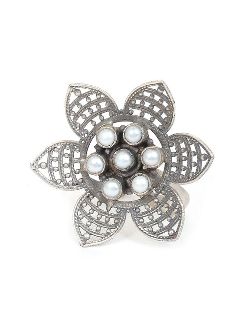 Tribal Silver Adjustable Ring with Pearls