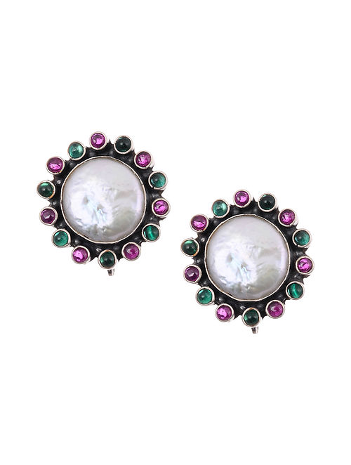 Maroon Green Tribal Silver Earrings with Mother of Pearl