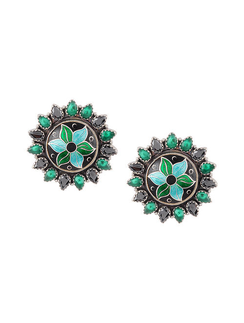 Black Green Enameled Silver Earrings