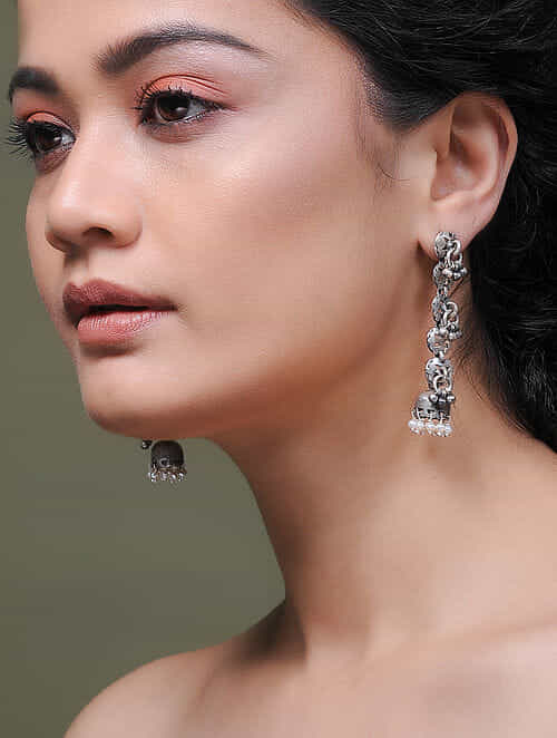 Tribal Silver Jhumkis with Pearls