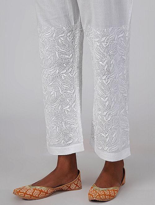 White Tie-up Waist Chikankari Embroidered Cotton Pants