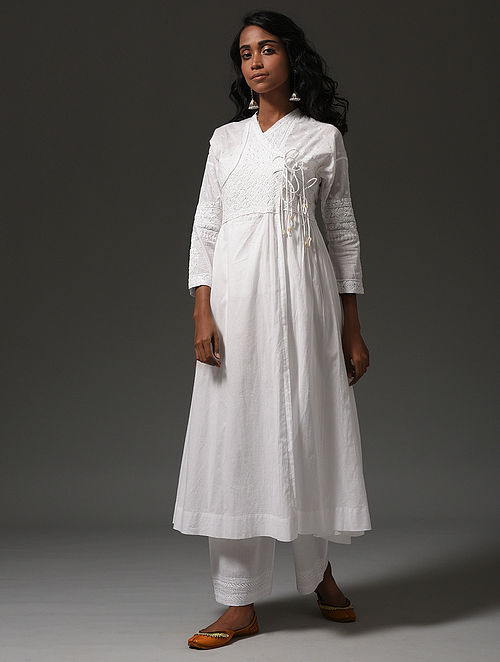 White Chikankari Cotton Angrakha with Mukaish