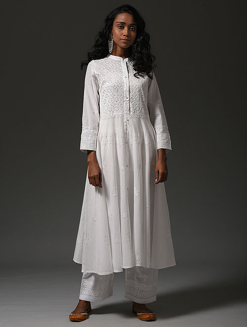 White Chikankari Front-open Cotton Kurta with Mukaish