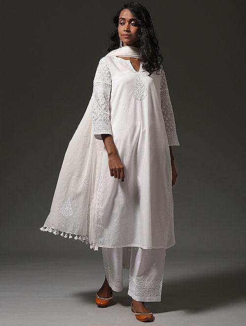 White Chikankari Cotton Kurta with Mukaish