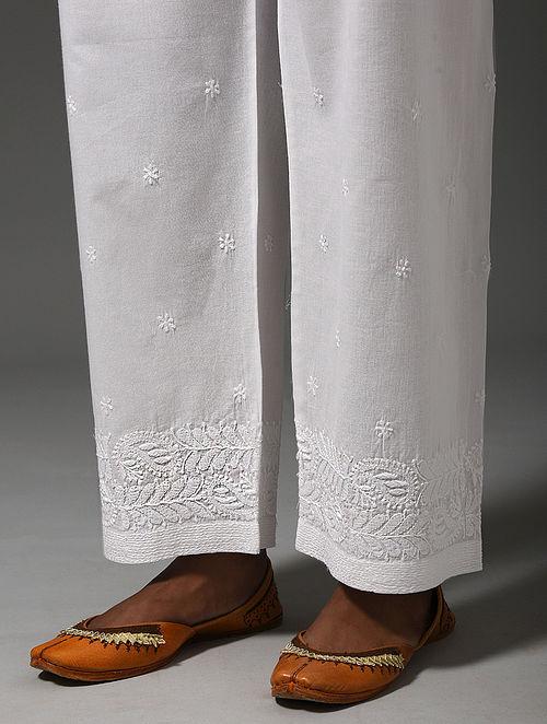 White Tie-up Waist Chikankari Cotton Pants