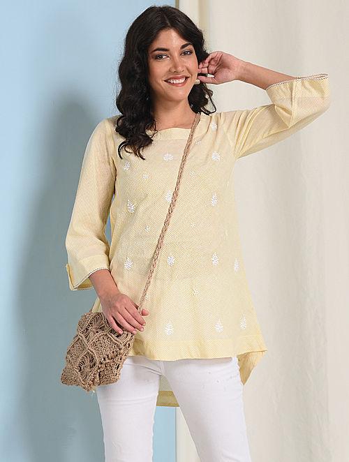 Ivory-Yellow Chikankari-embroidered Handloom Cotton Top