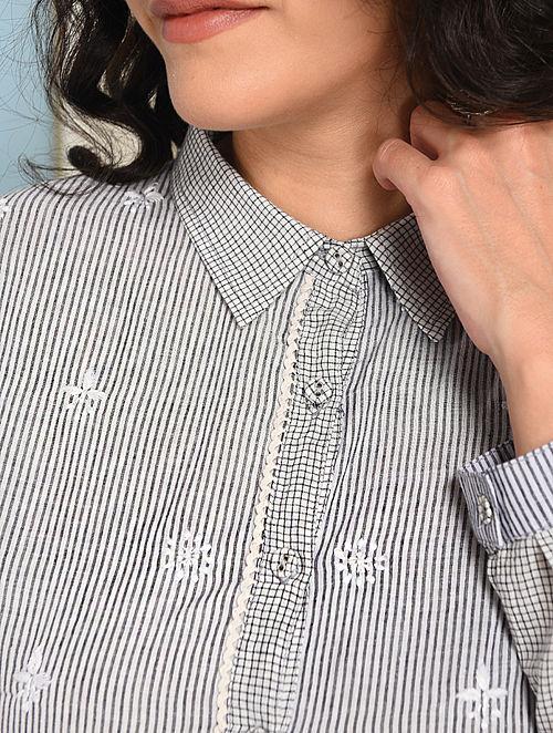 Ivory-Grey Button-down Chikankari-embroidered Handloom Cotton Dress