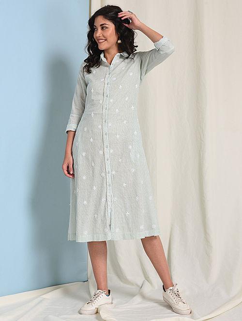 Ivory-Green Button-down Chikankari-embroidered Handloom Cotton Dress