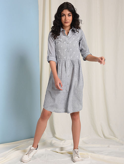 Ivory-Grey Chikankari-embroidered Handloom Cotton Dress with Gathers