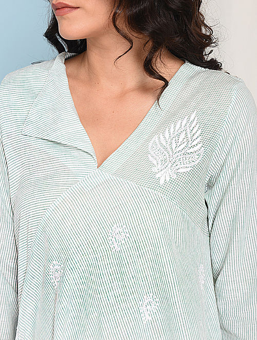 Ivory-Green Chikankari-embroidered Handloom Cotton Dress
