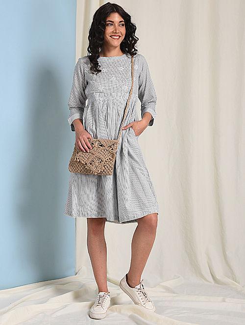 Ivory-Grey Chikankari-embroidered Handloom Cotton Dress with Pockets