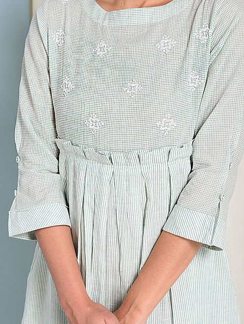 Ivory-Green Chikankari-embroidered Handloom Cotton Dress with Pockets