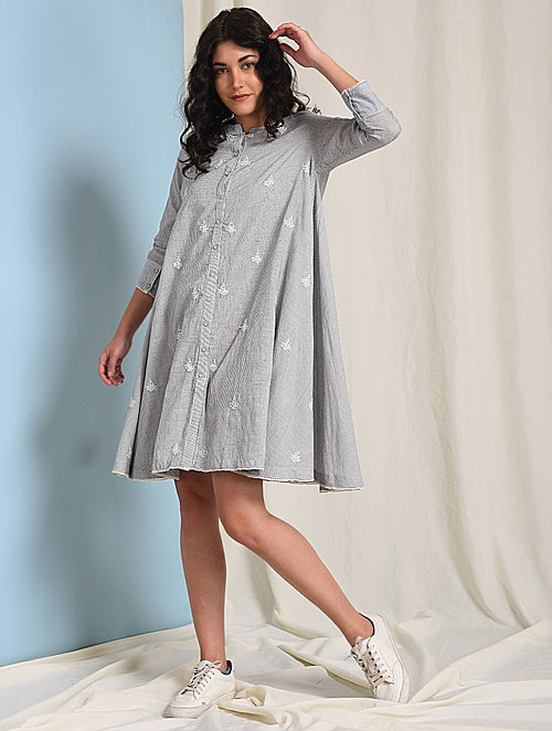 Ivory-Grey Botton-down Chikankari-embroidered Handloom Cotton Dress
