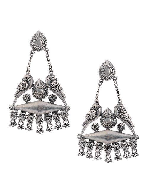 Tribal Silver Earrings with Bird Design