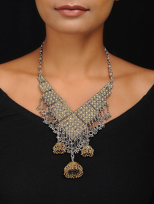 80e860247940be Buy Dual Tone Tribal Silver Necklace Online at Jaypore.com