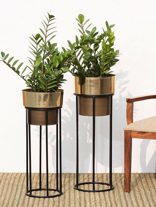 Brown and Gold Iron Planters (Set of 2)