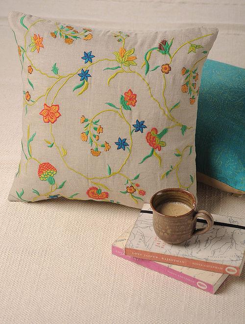 Jacobean Ecru Embroidered Cushion Cover 16in X 16in