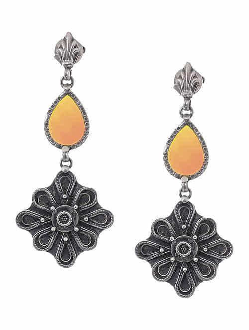 Yellow Glass Silver Earrings