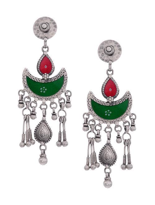 Green-Red Glass Tribal Silver Earrings