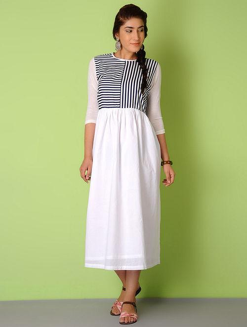White-Navy Stripes Cotton Dress