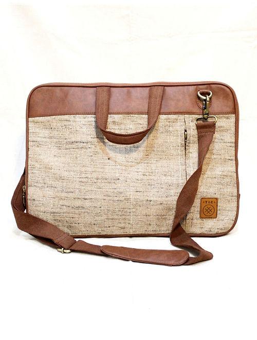 Beige Handcrafted Vegan Leather Laptop Bag