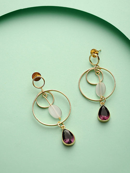 Brown-White Gold Tone Brass Earrings