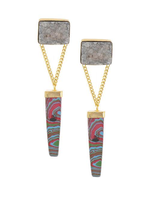 Multicolored Gold Tone Brass Earrings