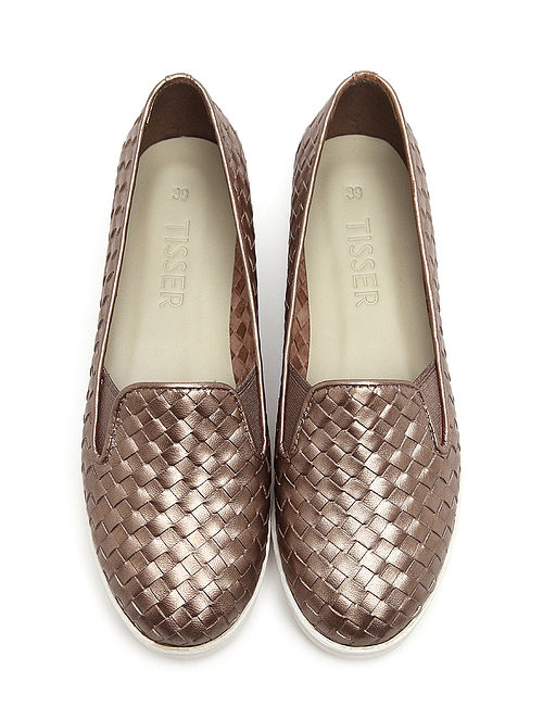 Bronze Handwoven Genuine Leather Shoes