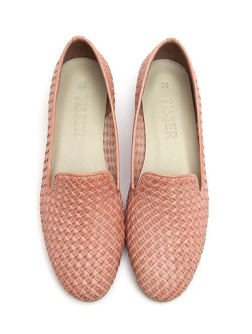 Pink Handwoven Genuine Leather Loafers