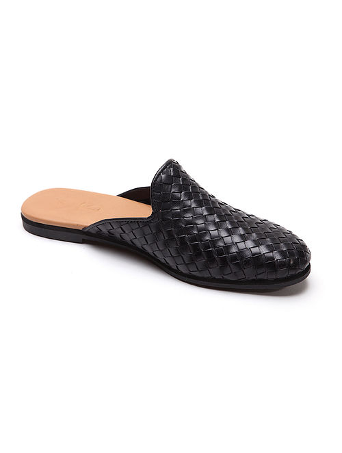 Black Handwoven Genuine Leather Mules