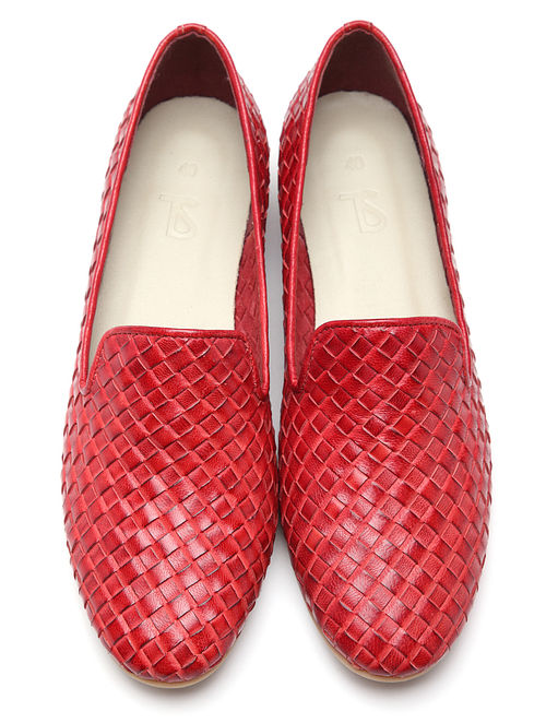 Red Handwoven Genuine Leather Loafers