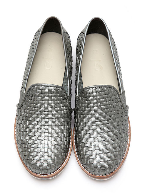 Silver Handwoven Genuine Leather Loafers