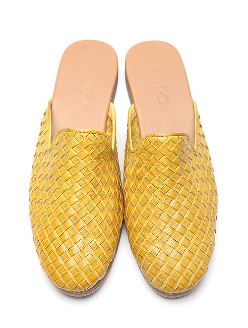 Yellow Handwoven Genuine Leather Mules