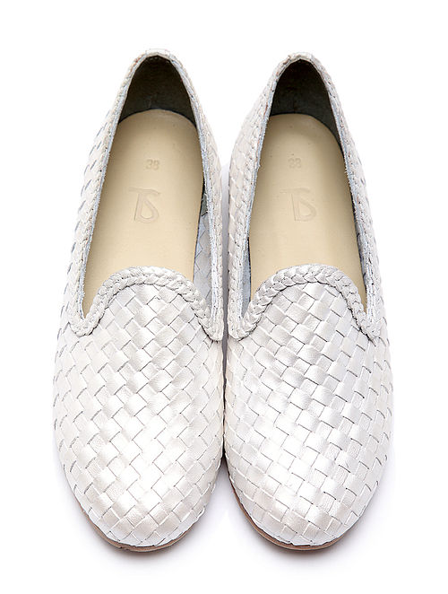 White Handwoven Genuine Leather Shoes