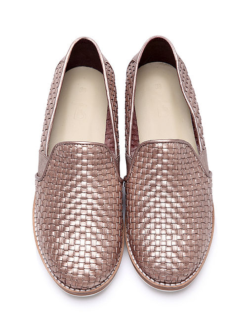 Gold Handwoven Genuine Leather Shoes