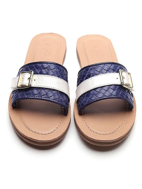Dark Blue Handwoven Leather Slip Ons