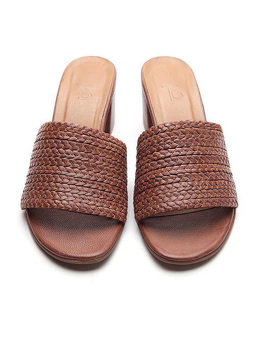Brown Handwoven Leather Block Heels