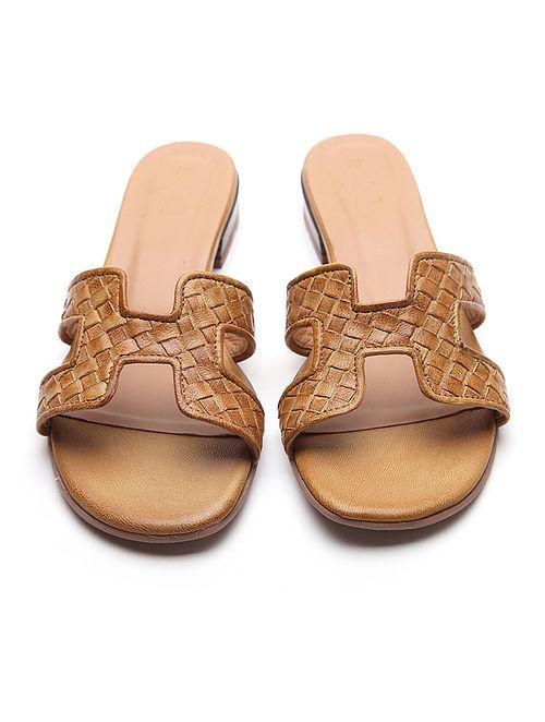 Mustard Handwoven Leather Block Heels